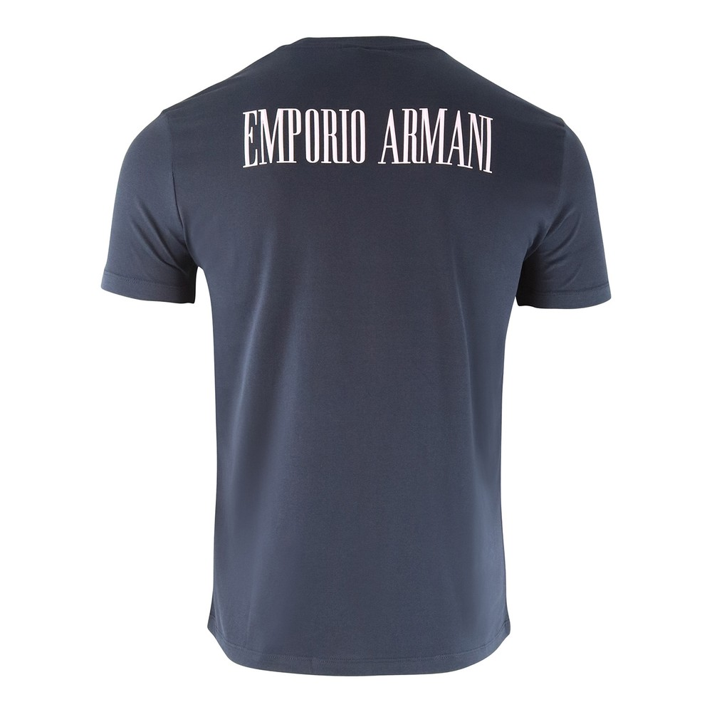 Emporio Armani Cotton Jersey T-Shirt with Statement Print Navy