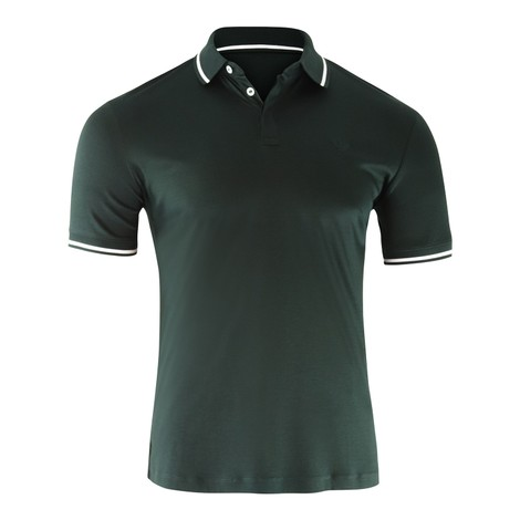 Emporio Armani Cotton Interlock Jersey Polo Shirt with Contrasting Details in Green