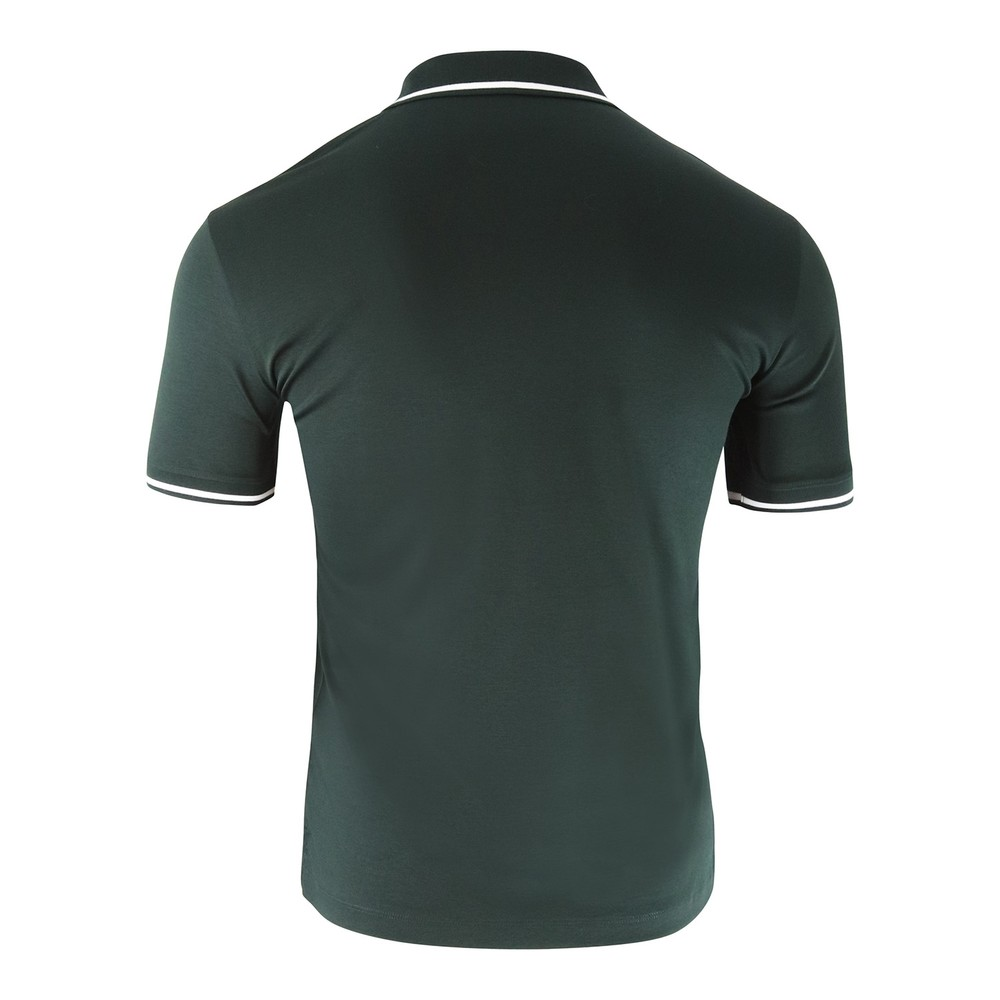 Emporio Armani Cotton Interlock Jersey Polo Shirt with Contrasting Details Green