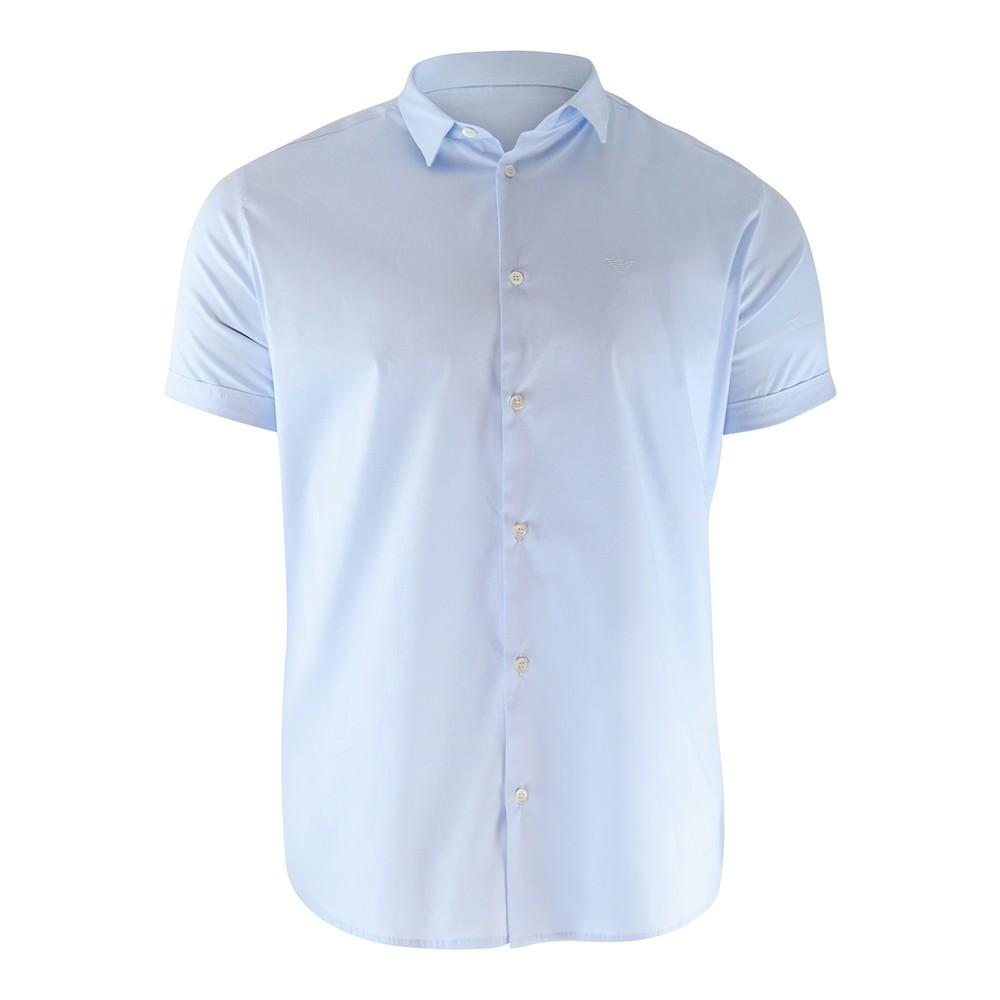 Emporio Armani Short Sleeved  Slim Fit Poplin Sky Blue Shirt Blue