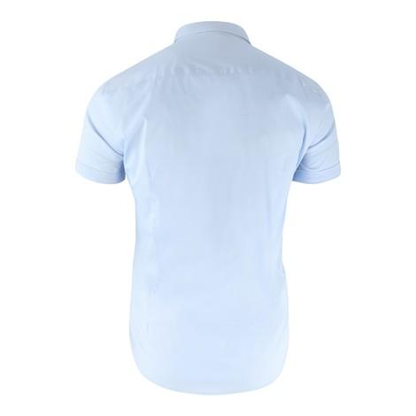 Emporio Armani Short Sleeved  Slim Fit Poplin Sky Blue Shirt