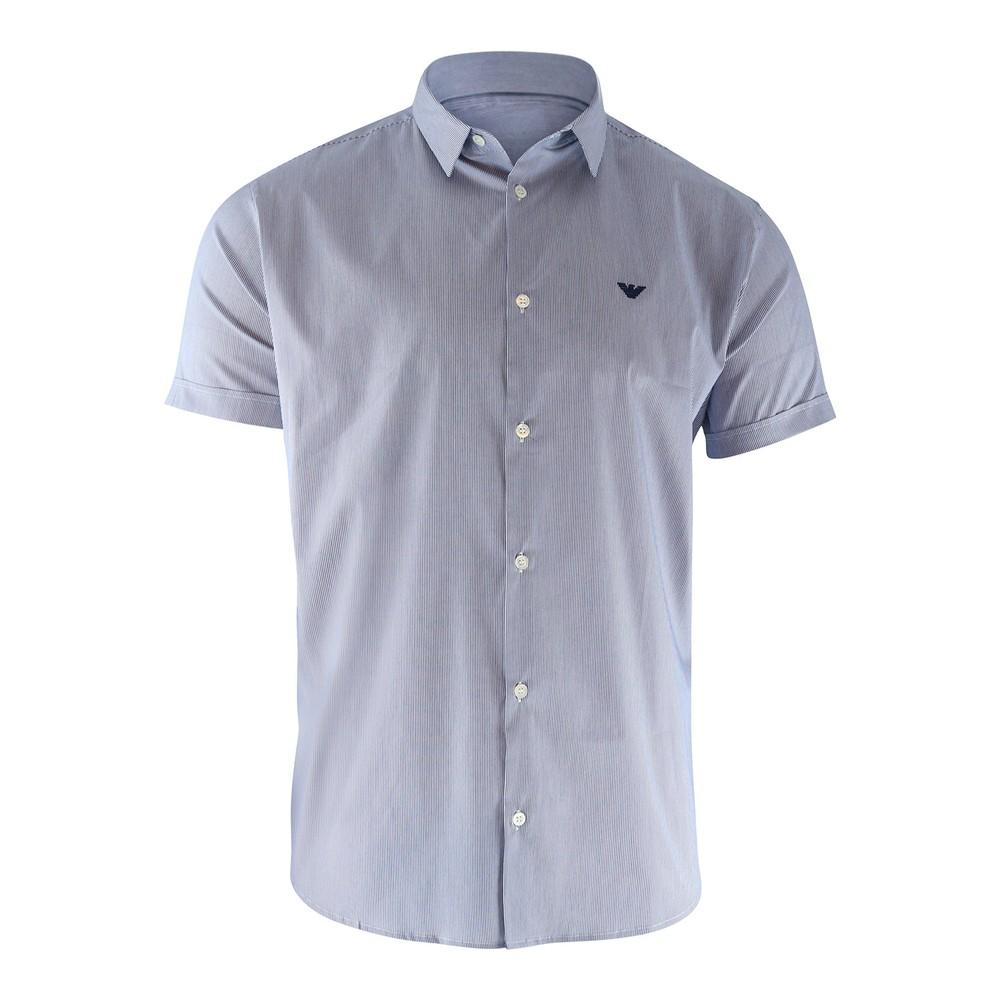 Emporio Armani Short Sleeved Slim Fit Poplin Navy Stripe Shirt Navy Stripe