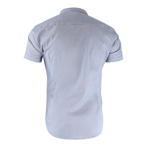 Emporio Armani Short Sleeved Slim Fit Poplin Navy Stripe Shirt
