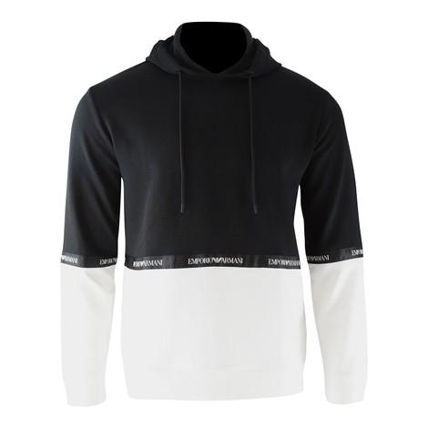 Emporio Armani Two-Colour Cotton Fleece Sweatshirt with Hood and Logo Band