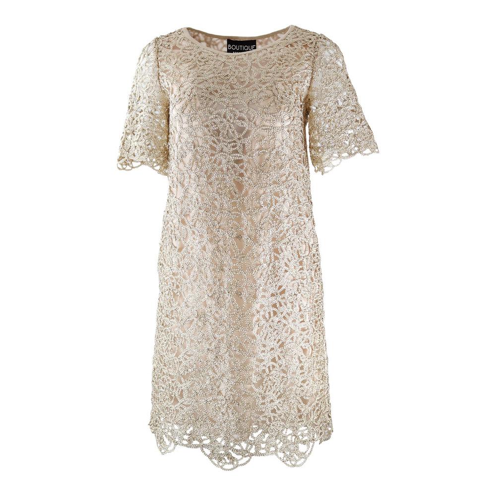 Moschino Boutique Gold Vintage Applique Dress Gold