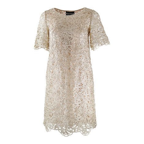 Moschino Boutique Gold Vintage Applique Dress