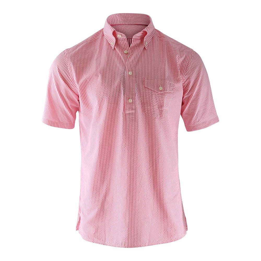Eton Pink Stripe Seersucker Popover Shirt Pink and White