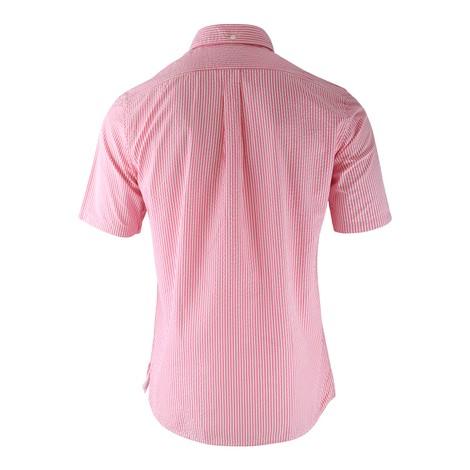 Eton Pink Stripe Seersucker Popover Shirt