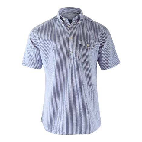 Eton Navy Stripe Seersucker Popover Shirt