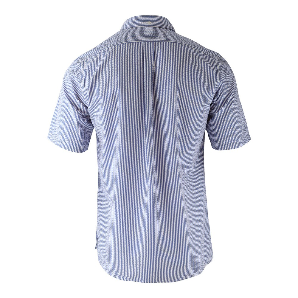 Eton Navy Stripe Seersucker Popover Shirt Navy and White