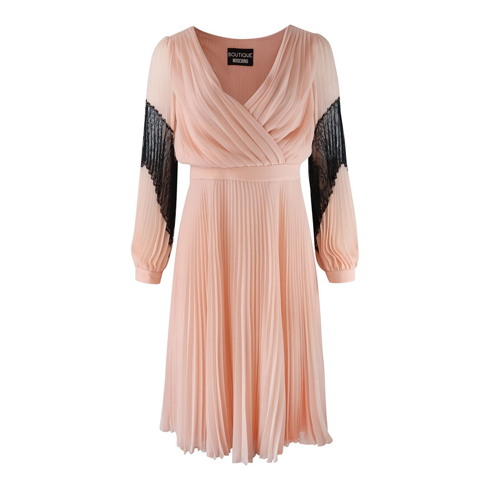 Moschino Boutique Longsleeve Pleated Dress with Lace Detail Blush