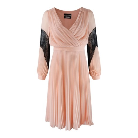Moschino Boutique Longsleeve Pleated Dress with Lace Detail
