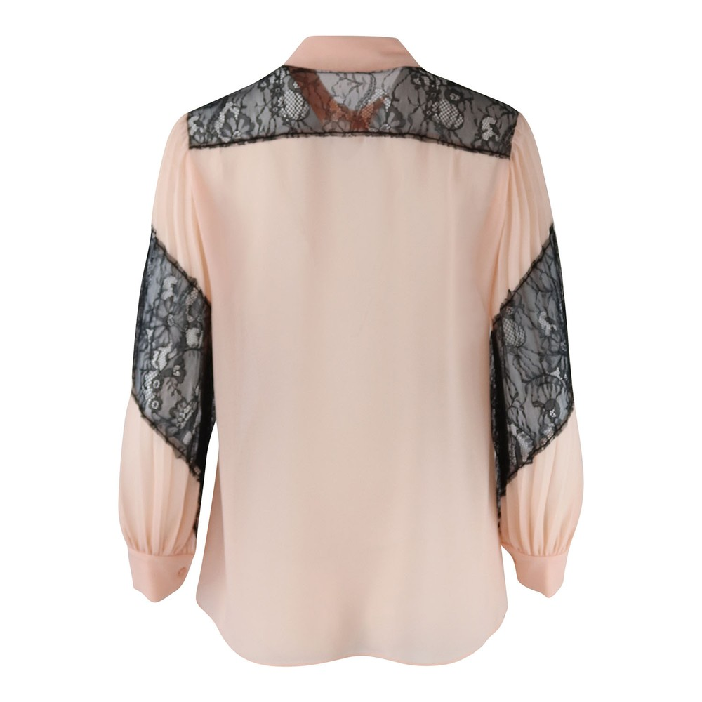 Moschino Boutique Longsleeve Pleated Blouse with Lace Detail Blush