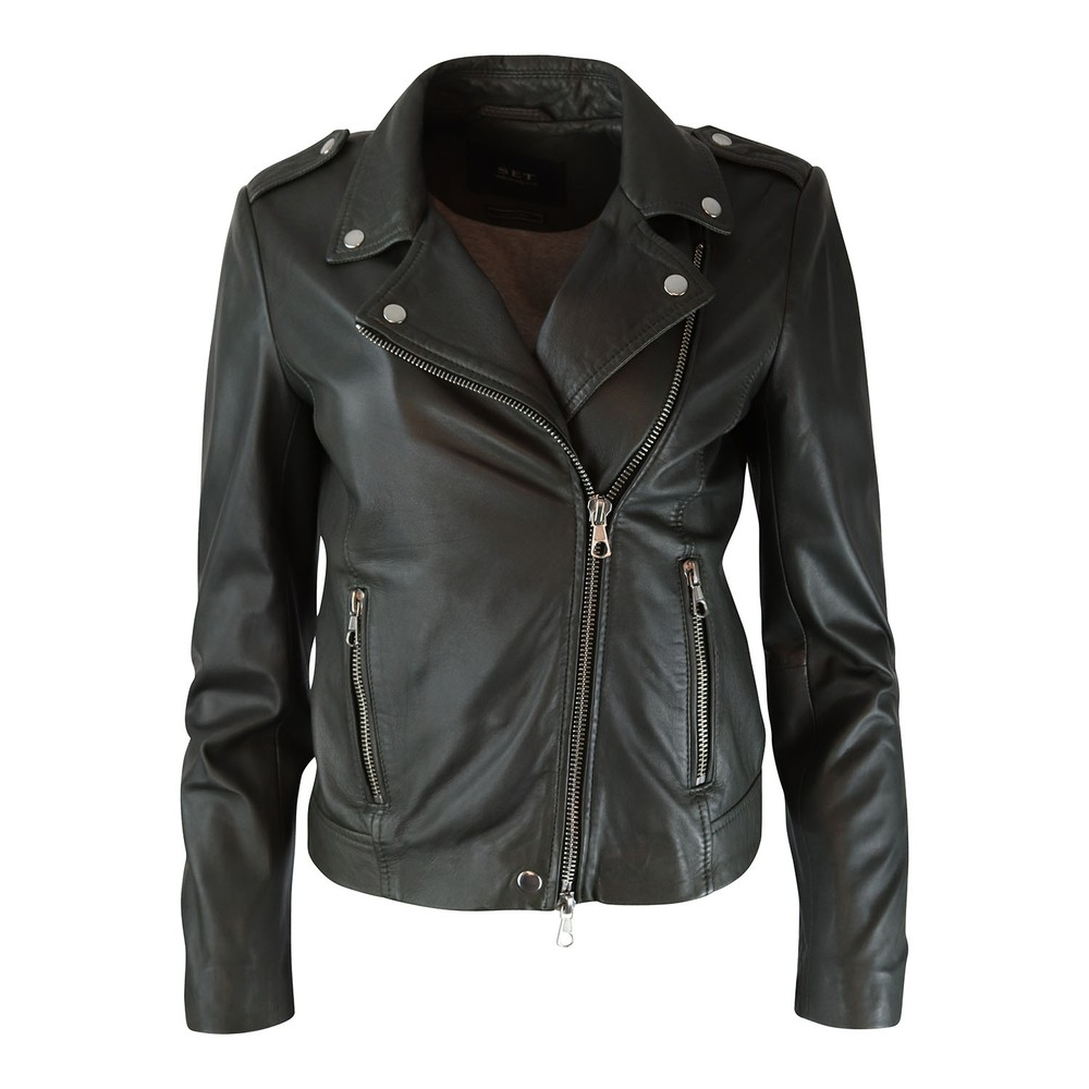 Set Tyler Leather Jacket Grey