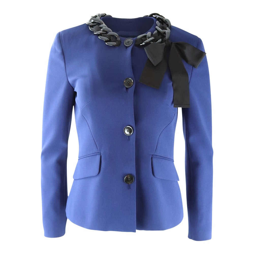 Moschino Boutique Blue Jacket with Black Chain Neck Detail Blue