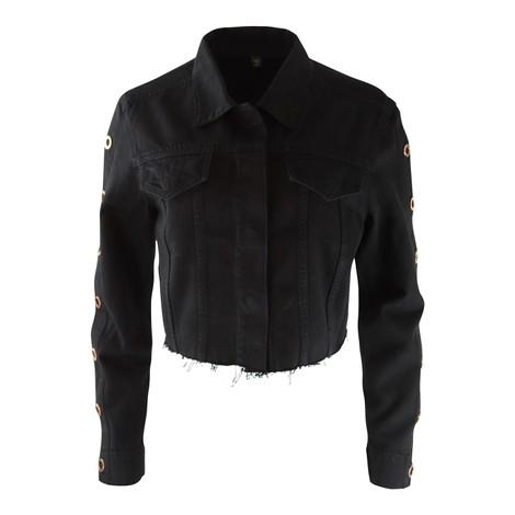 J Brand Cropped Cyra Black Denim Jacket with Rose Gold Ring Hardware