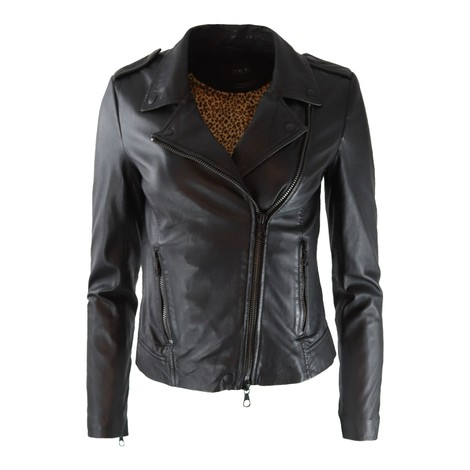 Set Leather Jacket with Leopard Lining