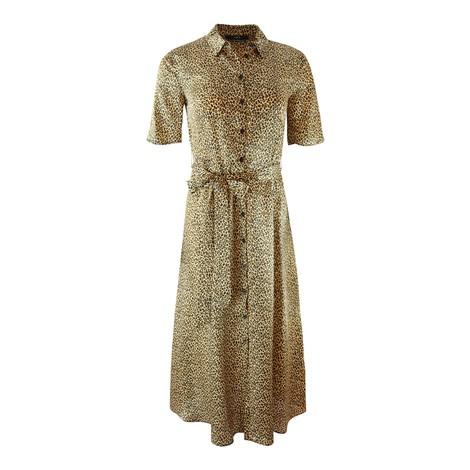 Set Leopard Tie Waist Shirt Dress