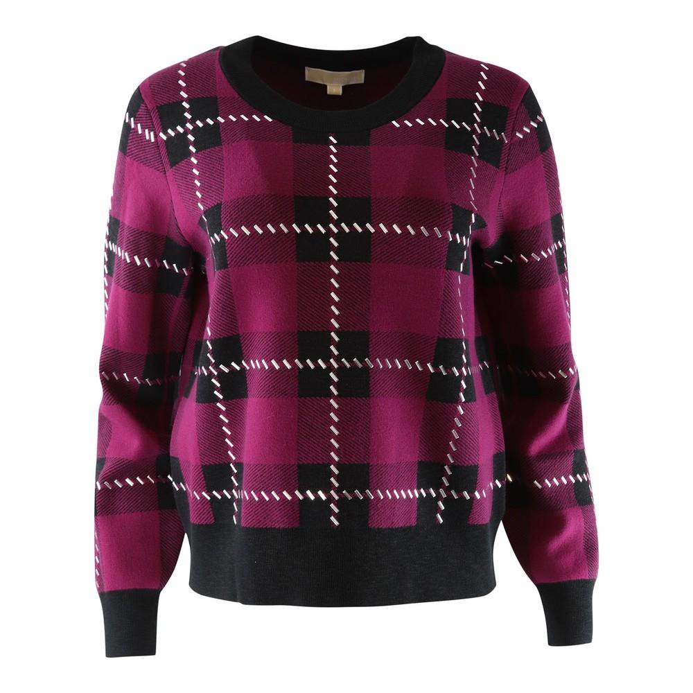 Michael Kors Check Studded Sweatshirt Garnet