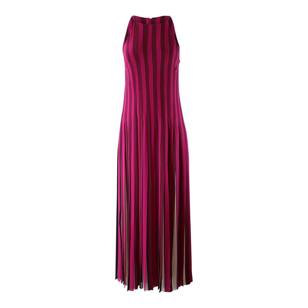 Michael Kors Pleated Stripe Maxi Dress Multi