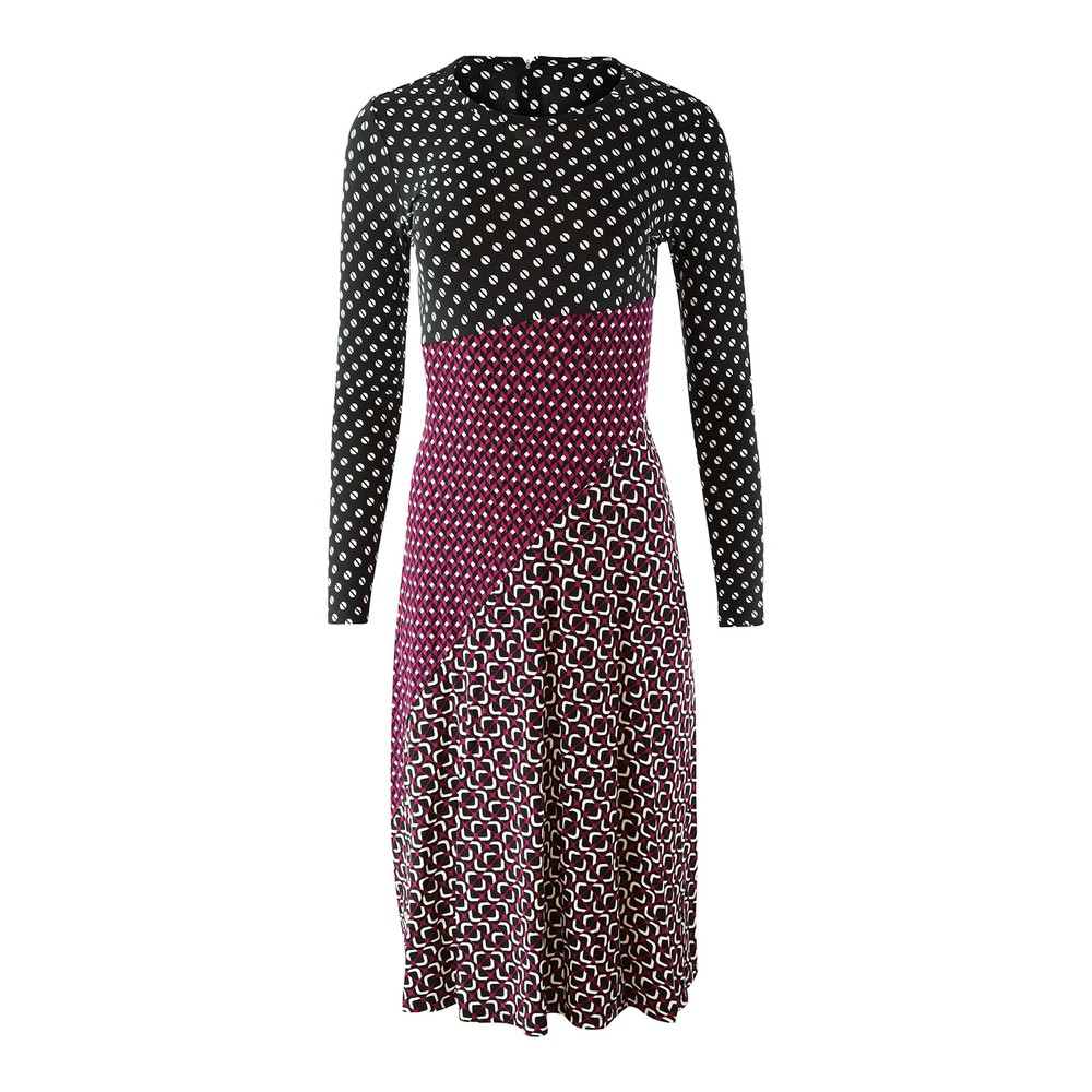 Michael Kors Longsleeve Multi Print Midi Dress Multi