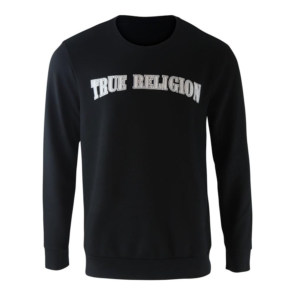 True Religion TR Felt Logo Thread Crewneck Black